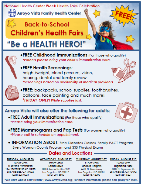 """Be a HEALTH HERO!"" Back-to-School Health Fairs (Arroyo Vista Family Health Center) @ Lincoln Heights 