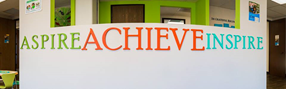 Front desk at The Achievable Foundation, located in Culver City, CA.