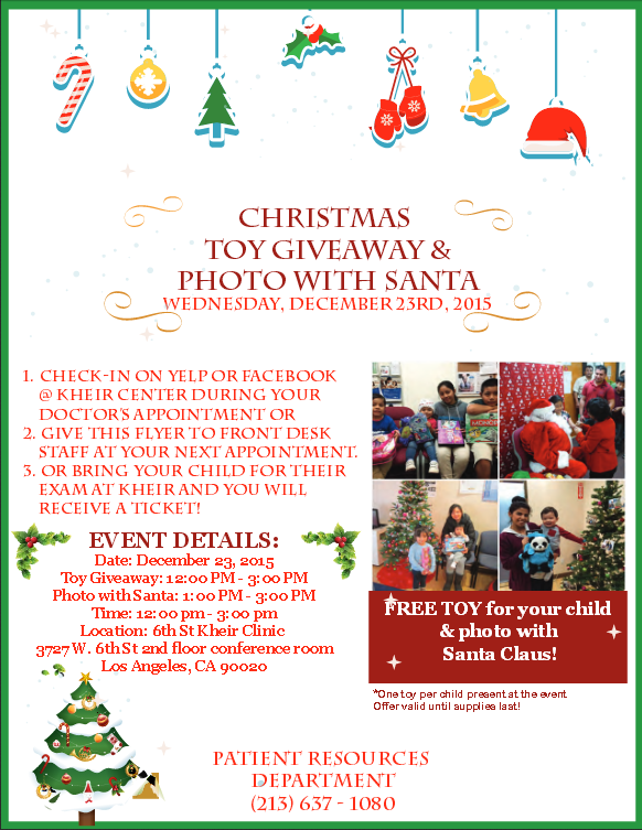 Christmas Giveaway Flyer.Christmas Toy Giveaway Photo With Santa Community Clinic